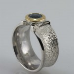 Chunky Silver & aquamarine ring
